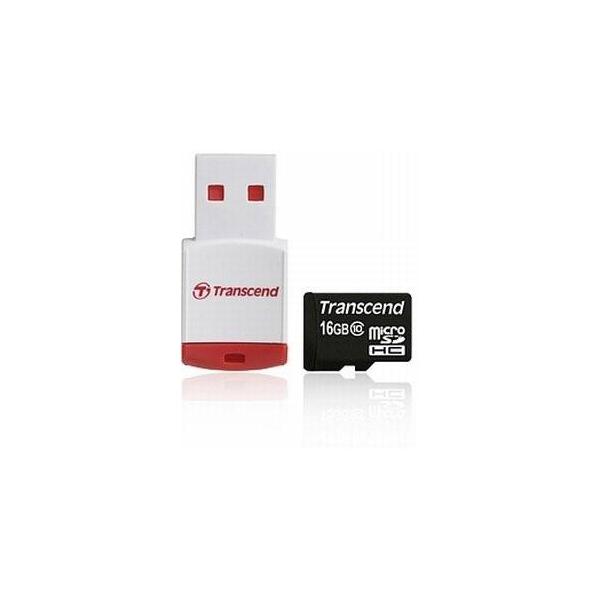 Transcend 16 GB microSDHC class 10 + P3 Card Reader TS16GUSDHC10-P3