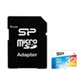 Silicon Power 32 GB microSDHC Class 10 UHS-I Elite Color + SD adapter SP032GBSTHBU1V20-SP