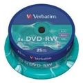 Диски CD, DVD, Blu-ray Verbatim DVD-RW 4,7GB 4x Spindle Packaging 25шт (43639)