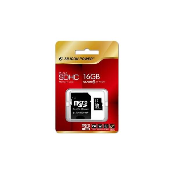 Silicon Power 16 GB microSDHC Class 10 + SD adapter