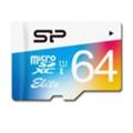 Карты памятиSilicon Power 64 GB microSDXC Class 10 UHS-I Elite Color + SD adapter SP064GBSTXBU1V20-SP
