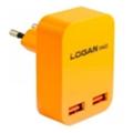 Зарядные устройства для мобильных телефонов и планшетовLogan Dual USB Wall Charger 5V 2A CH-2 Orange