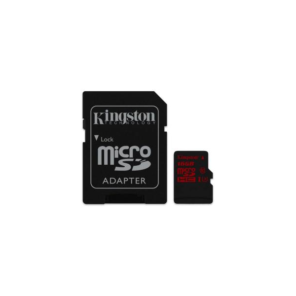 Kingston 16 GB microSDHC class 10 UHS-I U3 + SD Adapter SDCA3/16GB