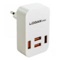 Logan Quad USB Wall Charger 5V 4A CH-4 White