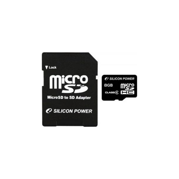 Silicon Power 8 GB microSDHC Class 4 + SD adapter SP008GBSTH004V10-SP