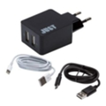 Зарядные устройства для мобильных телефонов и планшетовJust Core Dual USB Wall Charger Black + microUSB/Lightning (WCHRGR-CR2C-BLCK)