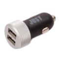 Зарядные устройства для мобильных телефонов и планшетовJust Motion Dual USB Car Charger (2.4A/12W, 2USB) Black/Silver (CCHRGR-MTN-BLCK)