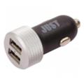 Зарядные устройства для мобильных телефонов и планшетовJust Executive Dual USB Car Charger (4.8A/24W, 2USB) Black/Silver (CCHRGR-XCTV-BLCK)