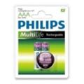 Аккумуляторы, батарейкиPhilips AAA 800mAh NiMh 2шт MultiLife Ready to Use (R03B2RTU8/97)