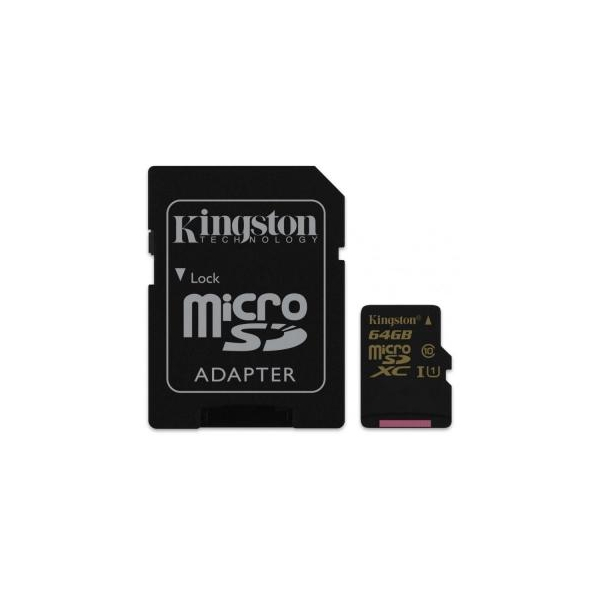 Kingston 64 GB microSDXC class 10 UHS-I + SD Adapter SDCA10/64GB