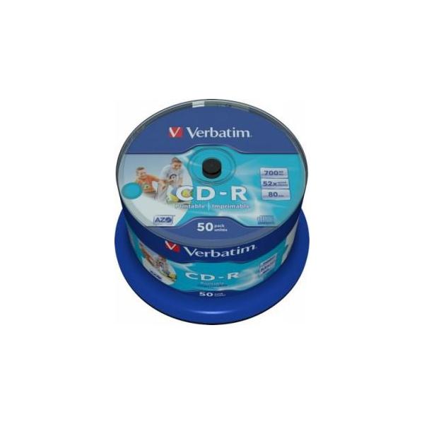 Verbatim CD-R Printable 700MB 52x Spindle Packaging 50шт (43309)