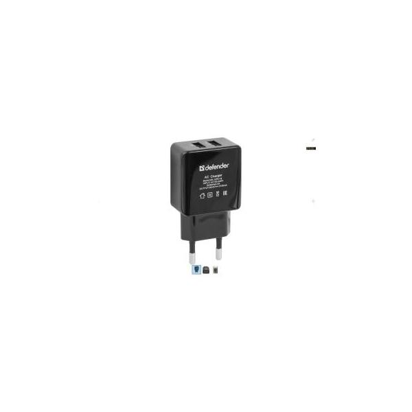Defender USB UPA-12 USB 2.0 5V 1A+2A adapter (83531)