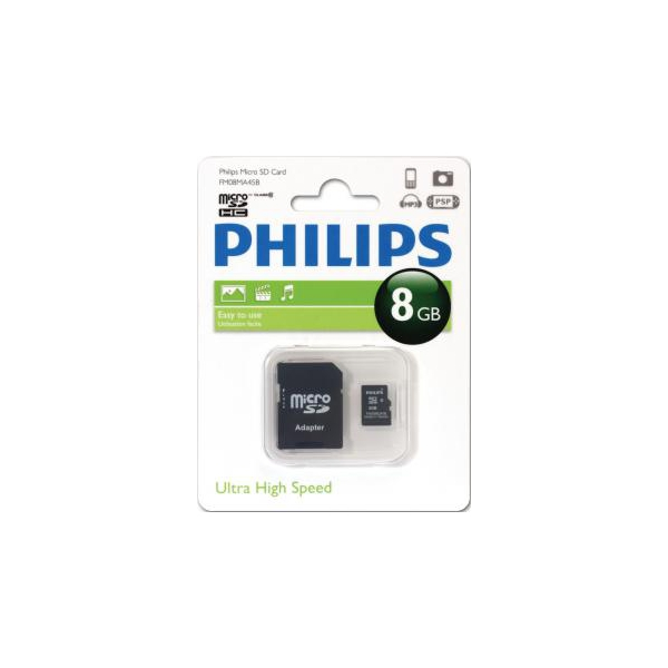 Philips 8 GB microSDHC class 10 + SD Adapter FM08MA45B/97