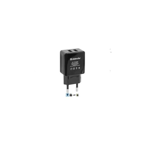 Defender USB UPС-12 USB 2.0 5V 1A+2A adapter (83533)