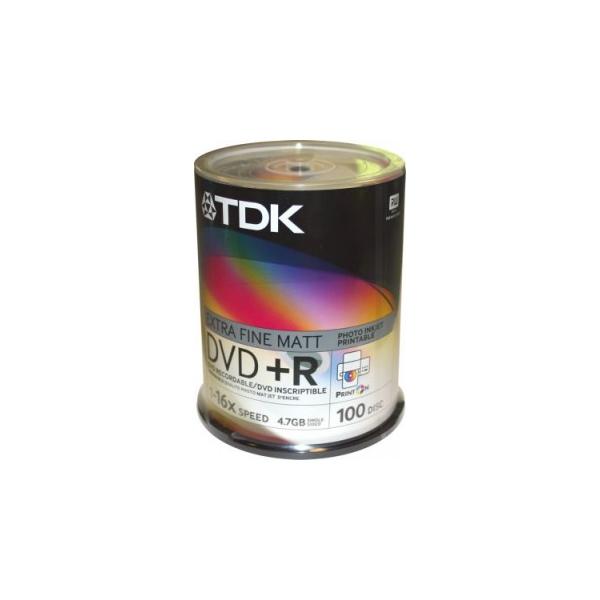 TDK DVD+R Printable 4,7GB 16x Cake Box 100шт