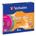 Диски CD, DVD, Blu-rayVerbatim DVD-R 4,7GB 16x Slim Case 5шт (43557)