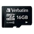 Карты памятиVerbatim 16 GB microSDHC class 10 + SD Adapter (44082)