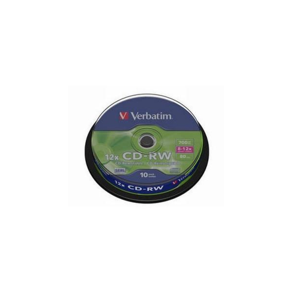 Verbatim CD-RW 700MB 12x Cake Box 10шт (43480)