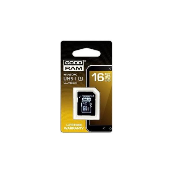 GoodRAM 16 GB microSDHC class 10 UHS1 + SD Adapter SDU16GHCUHS1AGRR10