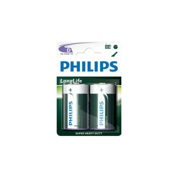 Philips D bat Carbon-Zinc 2шт LongLife (R20L2F/97)